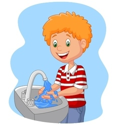 young boy washing her hands vector image