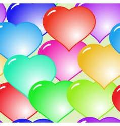 background with glass multicolor hearts vector image vector image