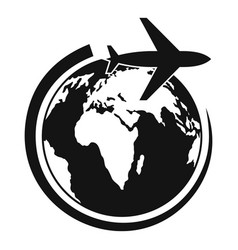 plane on earth icon simple style vector image