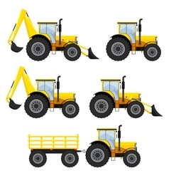 Set of vehicles and tractors vector image