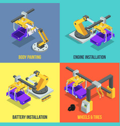 car production phases automated machinery line vector image vector image