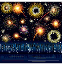 fireworks in the night city vector image vector image
