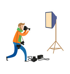flat man and photo equipment set vector image