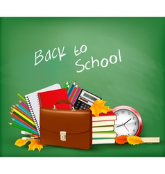 Green background with school supplies vector image