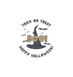 halloween badge vintage hand drawn logo design vector image