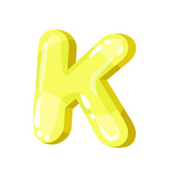 k yellow glossy bright english letter kids font vector image