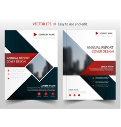 Red blue square annual report leaflet brochure vector