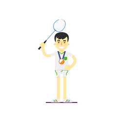 smiling man badminton player with medal vector image vector image