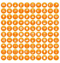 100 tea time food icons set orange vector