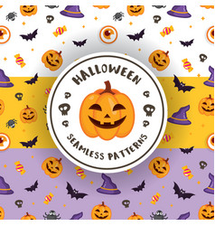 3 colors of halloween patterns vector image