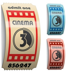 3d shiny curled cinema tickets vector