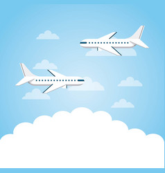 Airplanes flying in sky vector