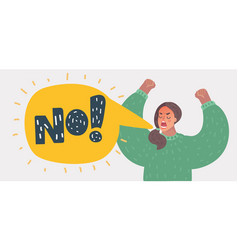 Angry woman rising hands and screaming no vector