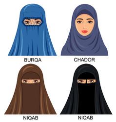 Arabian muslim women in traditional headwear vector