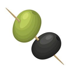 Black and green olives on skewersolives single vector