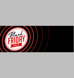 black friday sale banner in red neon style vector image