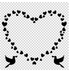 black retro heart shaped photo frame of hearts vector image