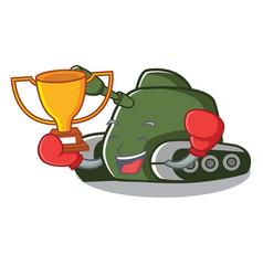 boxing winner tank mascot cartoon style vector image