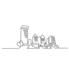 Building cityscape one line drawing art silhouette vector