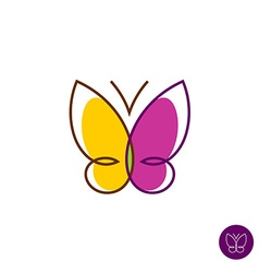 Butterfly linear logo vector image