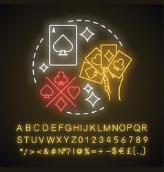 Card games neon light concept icon poker vector