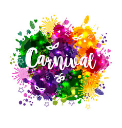 Carnival mardi gras on multicolors vector