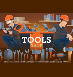 Carpentry and locksmith work tools shop vector