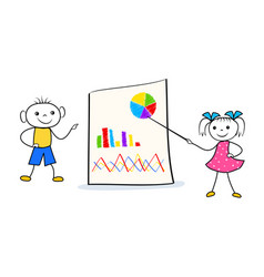 cartoon schoolboy and schoolgirl home wrok vector image