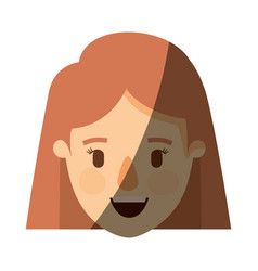Color image shading caricature front view face vector