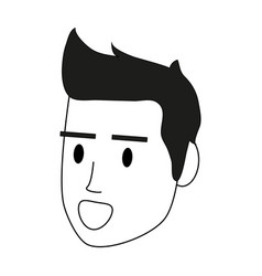 Color silhouette image cartoon side view face man vector