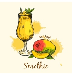 Colorful composition of mango smoothie Creative vector image
