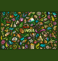 doodle cartoon set of indian objects and vector image