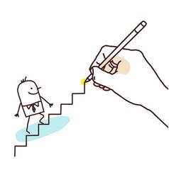 drawing big hand - cartoon businessman going up vector image