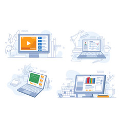 e-learning set online distance education webinars vector image