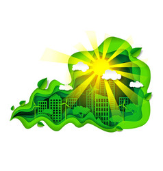 eco green city in paper art vector image