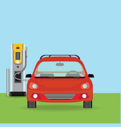 Electric cars charging at the charger station vector