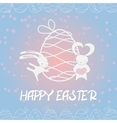 Fall in love funny bunny Easter egg vector image