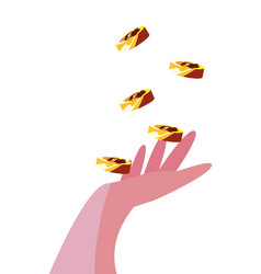 falling coins money in hand vector image