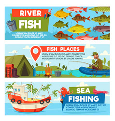 fisherman on fishing cartoon banners vector image