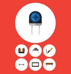Flat icon device set of bobbin resistor vector