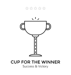 Flat icon of cup Winning trophy isolated on white vector image