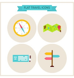 Flat Travel Website Icons Set vector image