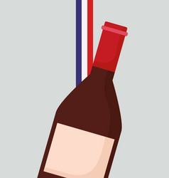 france culture card with flag and wine bottle vector image
