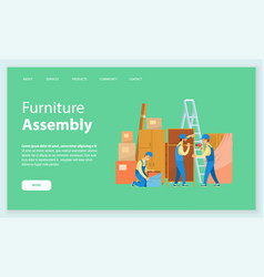 Furniture assembly unpacking and installing items vector