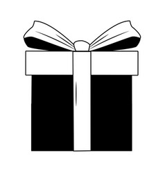 Giftbox present cartoon in black and white vector