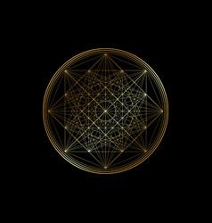Gold line drawing mandala sacred geometry logo vector