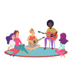 Group cheerful young friends playing guitars vector