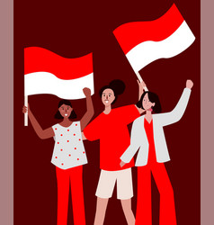 Group lady very happy smile holding red white flag vector