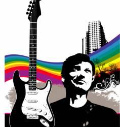 grunge city music man vector image