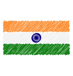 hand drawn national flag of india isolated on a vector image